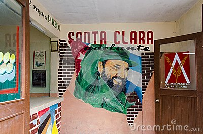 Fidel Castro Sign in Santa Clara Cuba Editorial Image