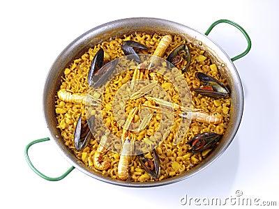 Fideua - Noodle paella -  on white