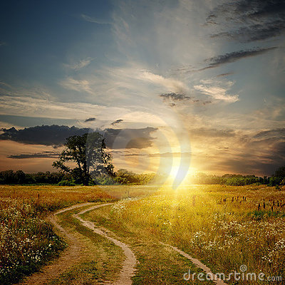 Free Field And Dirt Road To Sunset Stock Images - 15056804