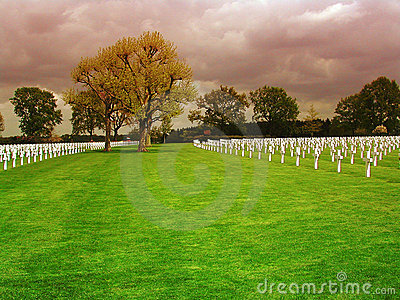 Field with crosses on the Netherlands American Cemetery in Margraten