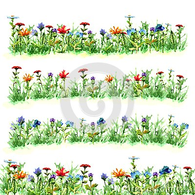 Free Field Flowers In Green Summer Grass On Meadow Glade Variants Bright Red Blue Yellow Purple Objects Bloom Watercolor Paint Green Fr Royalty Free Stock Photos - 115762388