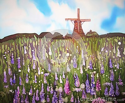 Field of flowers and wind mill. Original art. Painting on silk.