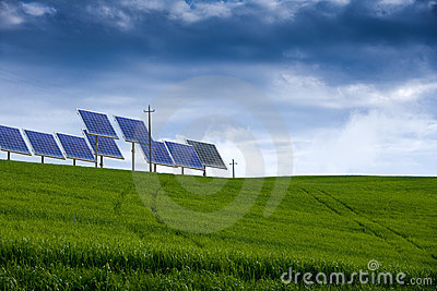 Field of grass and solar power