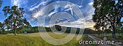 Field, Trees, Sky, Road, Mountain,