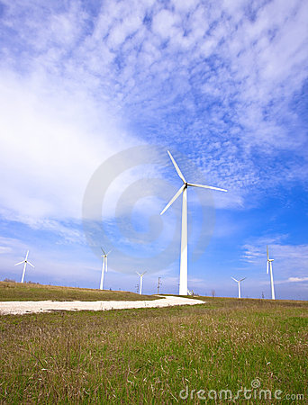 Field with wind energy converters