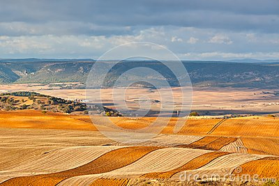 Fields and hills of Spain at winter