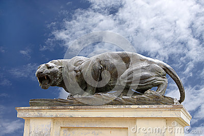 A fierce bronze tiger sculpture at Mysore palace