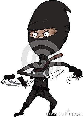 Fierce Ninja Throws Shuriken