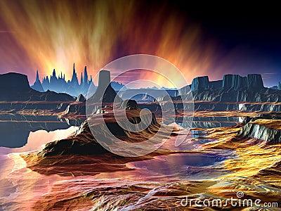 Fiery Aurora over Distant World