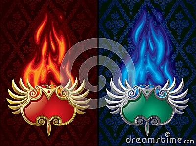 Fiery banners