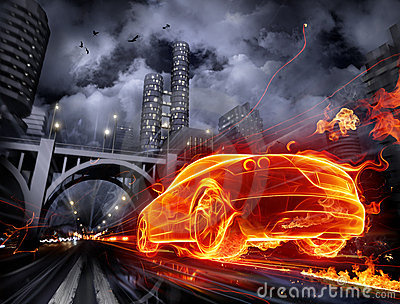 Fiery car Stock Photo