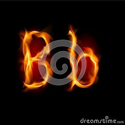 Fiery font. Letter B