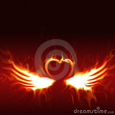 Fiery heart with wings