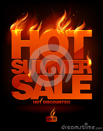 Free Fiery Hot Summer Sale Design. Royalty Free Stock Photography - 26112887