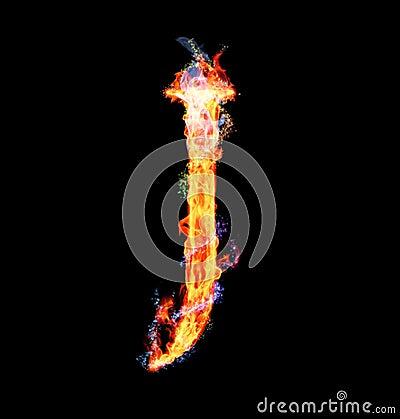 Fiery magic font - J