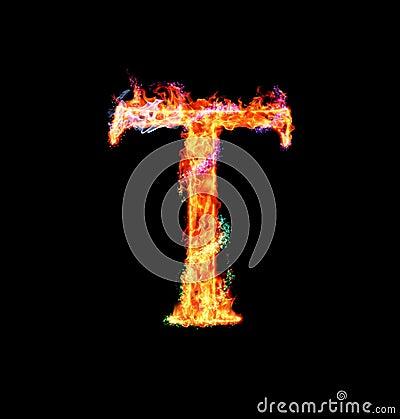 Free Fiery Magic Font - T Stock Photo - 12203260
