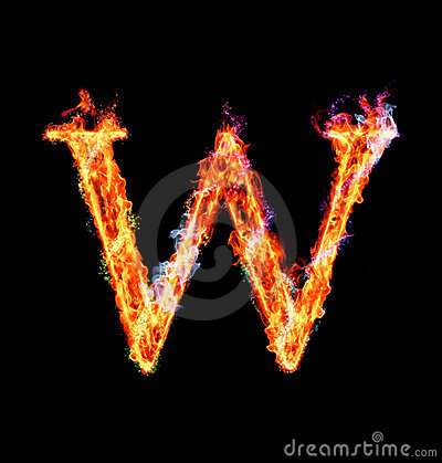 Fiery magic font - W