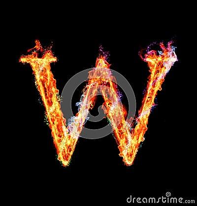 Fiery magic font - W