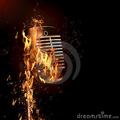 Fiery old fashioned microphone