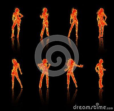 Fiery silhouettes