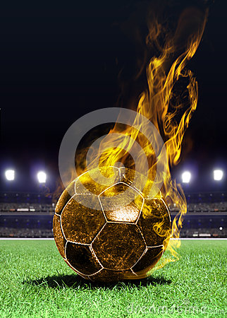 Free Fiery Soccer Ball On Field Royalty Free Stock Photos - 26445718