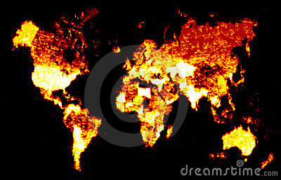 Fiery World Map Illustration