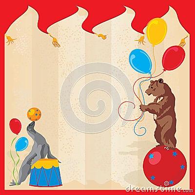 Fiesta de cumpleaños del circo de los animales de ejecución Invitatio