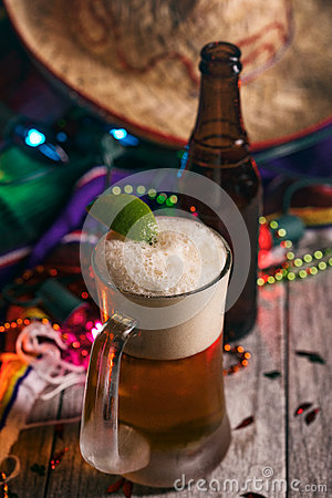 Free Fiesta: Mexican Beer With A Lime And Bottle Royalty Free Stock Photography - 89519537