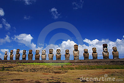 Fifteen moai at Ahu Tongariki, Easter Island