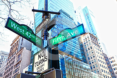Fifth Avenue Street sign New York Editorial Stock Photo