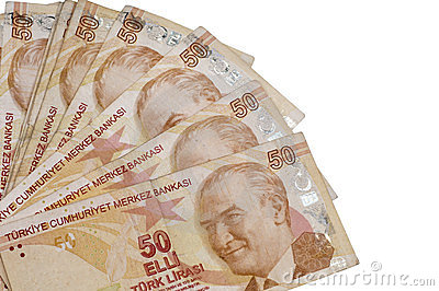 Fifthy turkish liras banknotes
