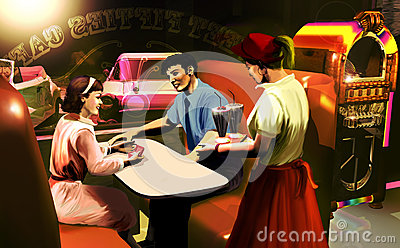 Fifties cafe scene