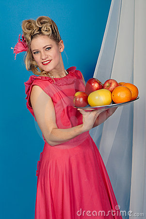 Free Fifties Pinup Girl With Fruit Stock Photo - 8051750