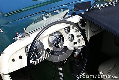 Fifties vintage cabriolet car dashboard & interior Editorial Photo