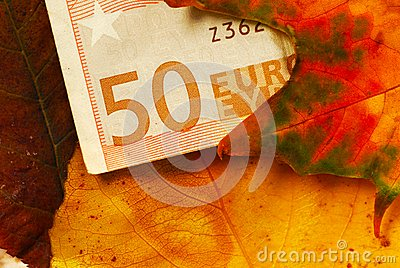 Fifty euro banknote between autumn leaves
