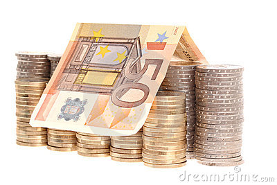 Fifty euro banknote and coins organized in columns