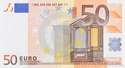 Fifty euro banknote.