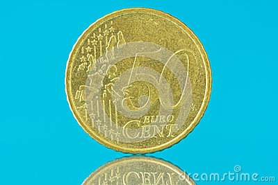 Fifty euro cent on blue background