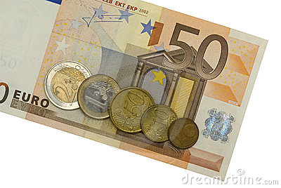Fifty euro with coins