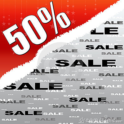 Fifty percent discount and sale poster