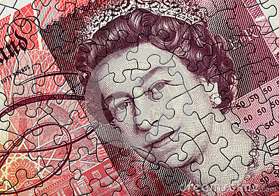 Fifty Pound Note Jigsaw Editorial Photography
