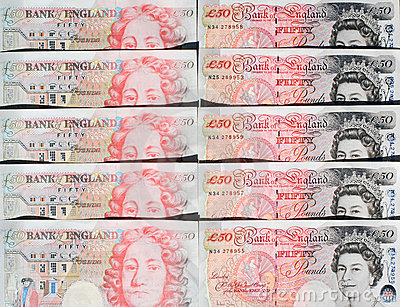Fifty Pound Notes - Great Britain Editorial Photo