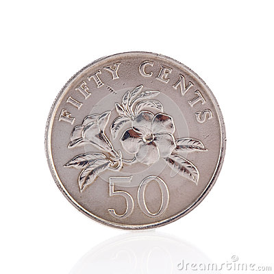 Free Fifty Singaporean Dollar Cents Coin Royalty Free Stock Images - 52381509