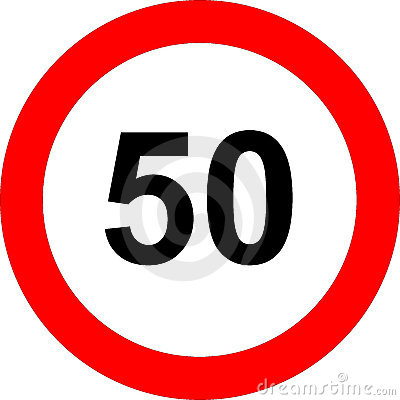 Fifty speed limit sign