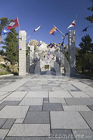 Fifty State flags lining the walkway to Grand Terrace Editorial Image