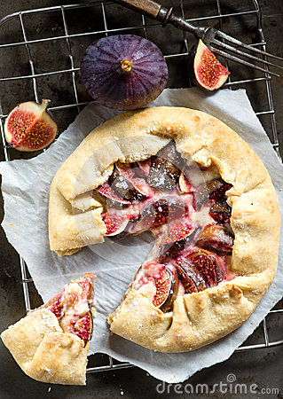 Fig Galette With Cream Cheese And Honey Royalty Free Stock Images ...