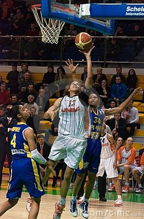 The fight for the ball.EuroLeague Women 2009-2010. Editorial Photo