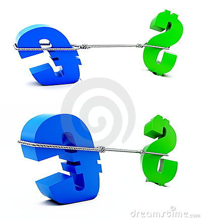 Fight of euro and dollar