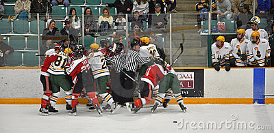 Fight in a NCAA Hockey Game Editorial Photography
