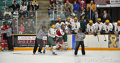 Fight in a NCAA Hockey Game Editorial Stock Photo